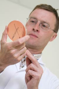 Vet-Barry-Thorp-with-bacteriology-plate